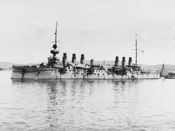 French Cruiser the Jeanne d'Arc at Mudros on Lemnos during World War I
