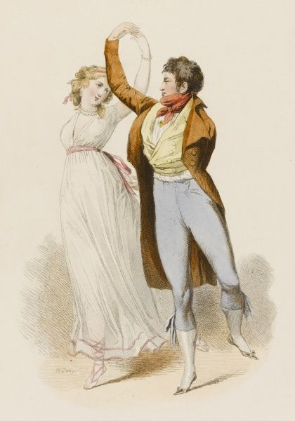 French couple dancing, during the Directoire. The man is not a war cripple, but holds his left arm behind his back