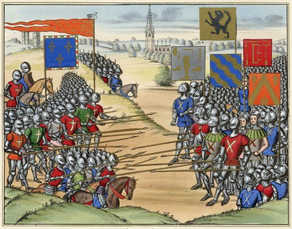 The French defeat the Flemish at Rosebecque where Philip van Artevelde died with 30,000 of his men. The white dove hovering above the king of France, was an omen of victory