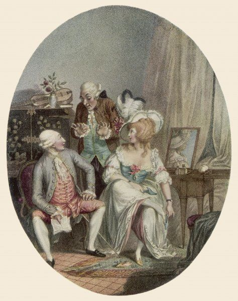 Two men and a woman in a French dressing room, in the year the Revolution began