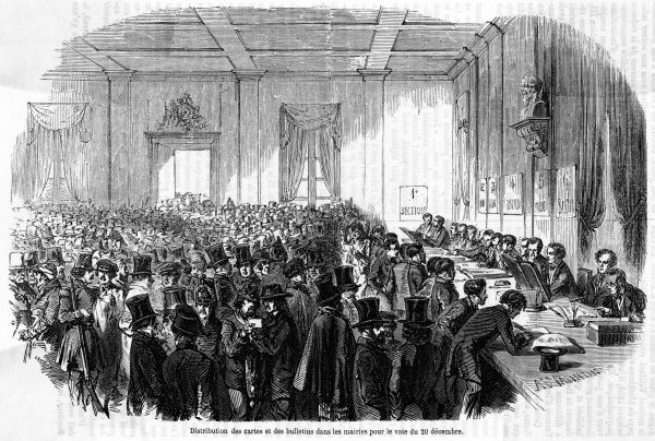 After Napoleon's coup, French voters choose their government. Date: 20 December 1851