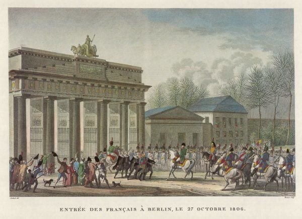 The French enter Berlin : they are welcomed by the Prussian municipal authorities
