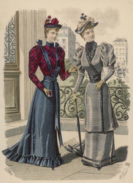 Wrap-over jacket bodice with gigot sleeves & long basques forming an over-skirt, broad belt & high necked blouse. Gored skirt, plaid blouse & sash worn as a belt & braces