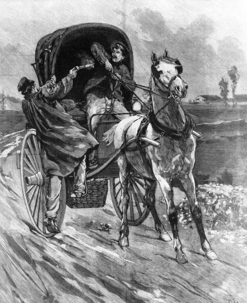 A French highwayman surprises a passing coach and horse, shooting the driver a point blank range. Date: c. 1894