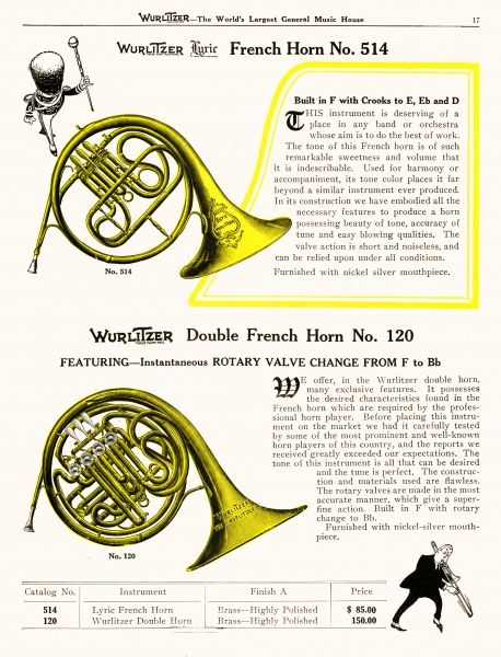 Two French Horns from the Wurlitzer range