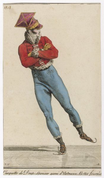 An elegant Parisian fellow skates smoothly along, with his arms folded