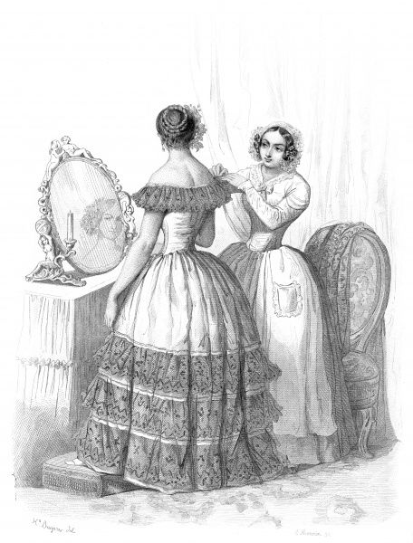 A maid helps her mistress with her toilette Date: 1847