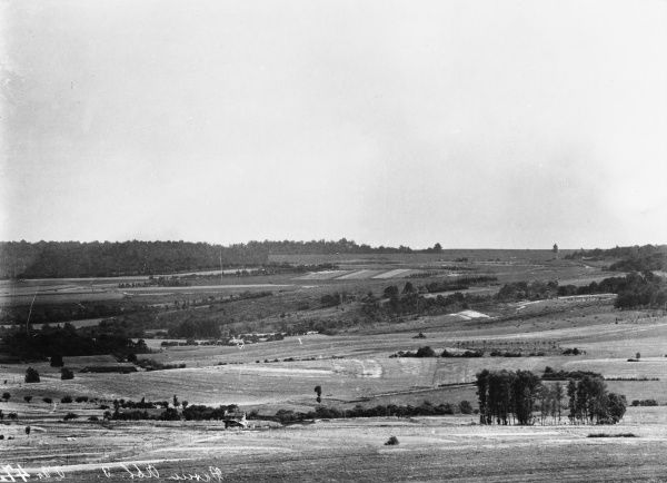 French landscape near Moulainville in Lorraine during World War I with the train station visible