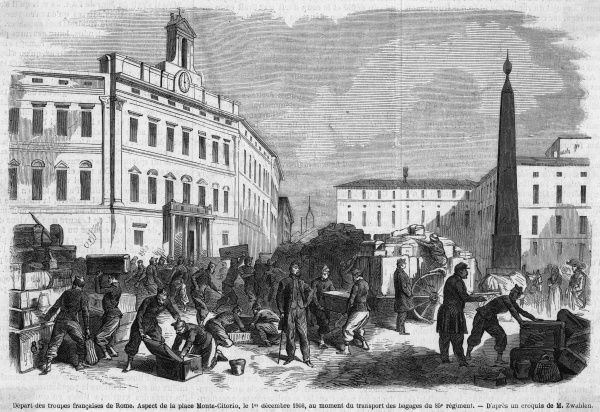 The French finally leave Rome, leaving pope Pius IX to fend for himself. Date: 1 December 1866