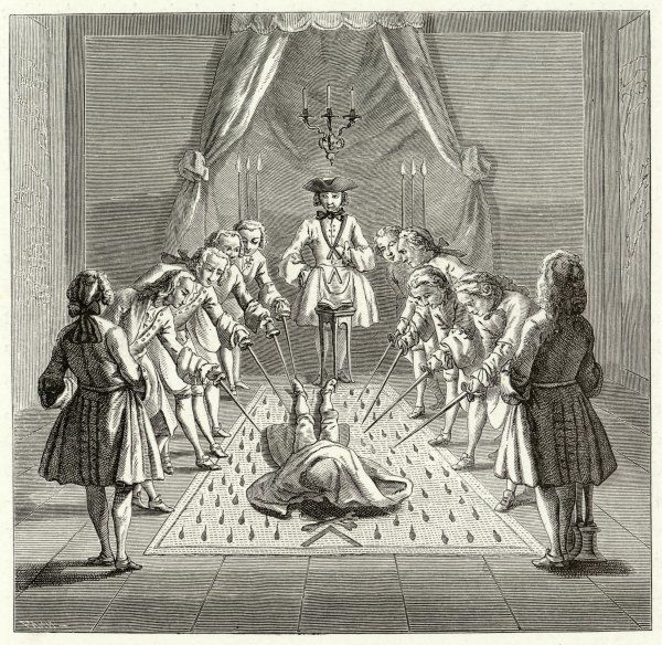 A French Lodge admits a Master who lies on the ground with a blood-soaked cloth over his face, while the existing Masters point their swords at his body, very symbolically
