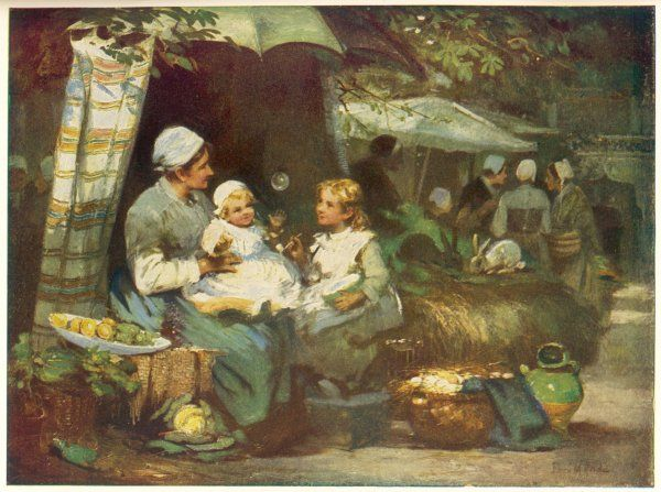 A French market woman and her two children