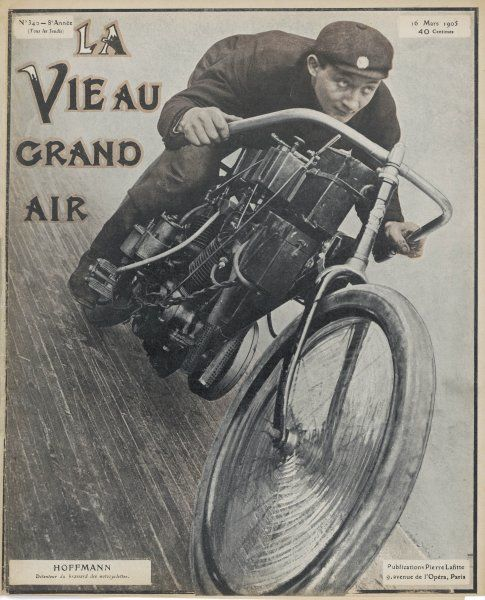 Hoffmann, French motor cycling champion ; to tell the truth, he's standing still, but a little retouching gives the illusion he's travelling at speed