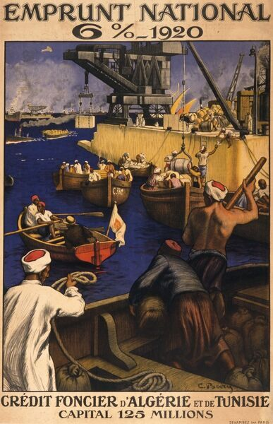 French National Loan poster for the Credit Foncier d'Algerie et de Tunisie, showing a busy scene in a North African port