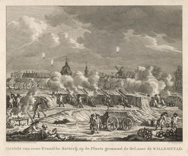 Invading the Low Countries, the French bombard WILLEMSTAD from their artillery battery on Hel-plaats : a fine view of cannon and a mortar in action