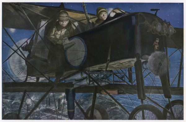A French 'Voisin' bomber carries out a night raid