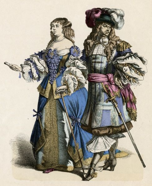 An aristocratic couple of the court of Louis XIV, both wearing garments lavishly garnished with tucks and ribbons at every possible point : she carries a stick Date: circa 1680