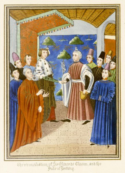 A group of French nobles : the reconciliation between sire Olivier de Clisson and the duc de Bretagne