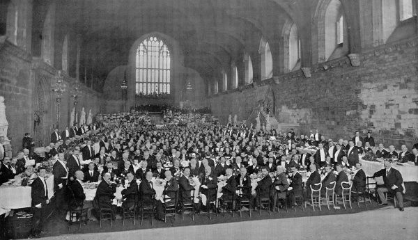Photograph showing the banquet held in Westminster Hall for the officers of the French naval fleet, London, 1905
