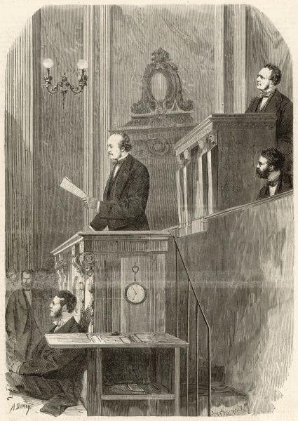 The opening of the parliamentary session. M. le Duc de Broglie reads a message from the president of the Republic at the rostrum of the National Meeting