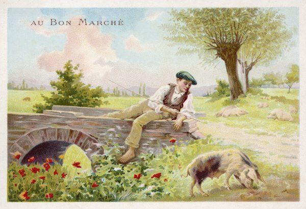 A boy in a flat cap watches over a pig with his goading stick