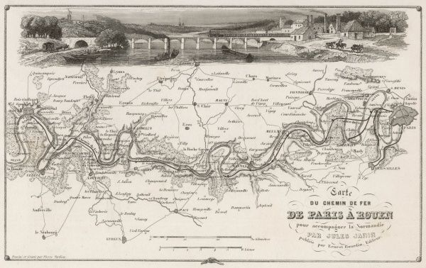 Map of the railway between Paris and Rouen, running alongside the Seine and crossing it - as shown in the picture - at Le Manoir
