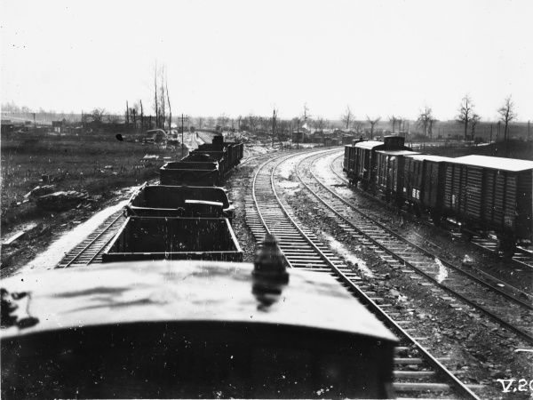 Trains on the Achiet Marco line at Bapaume yard (looking West) during World War I