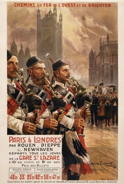 Poster by the French National Railways advertising their service from Paris to London departing daily to the ports of Rouen, Dieppe or Newhaven