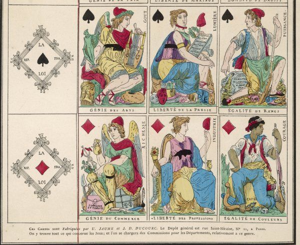 Playing cards from diamonds and spades suits from the French Revolution by Jaume and DuCourc