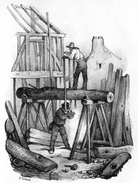 Workers in a French saw mill. Date: circa 1845