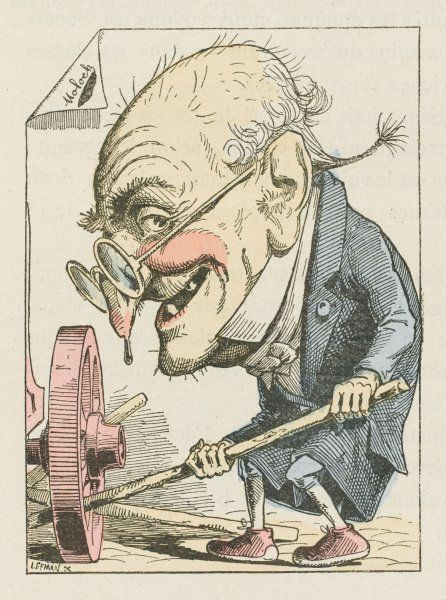 The French Senate personified as an old man putting sticks in a wheel to prevent progress