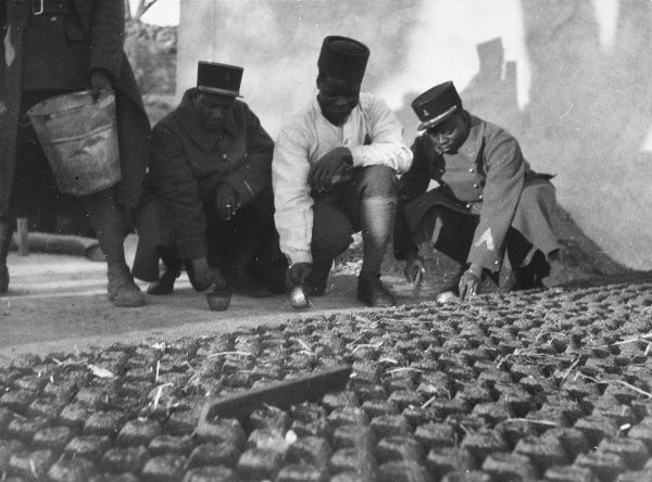 Senegalese soldiers in the French army preparing balls of coal dust to dry, carefully arranged in lines