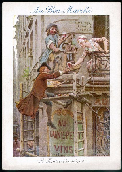 A French signwriter astride a wooden plank pauses from painting a carved inn sign to accept a glass of red wine from a barmaid who leans precariously from a balcony. Date: 18th century