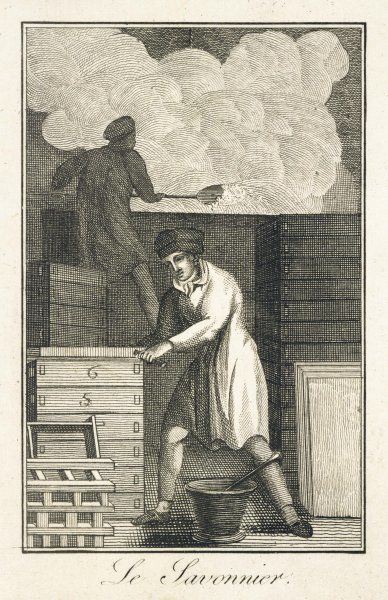 'LE SAVONNIER' a French soapmaker, depicted in the act of making putting the liquid soap into trays, to harden
