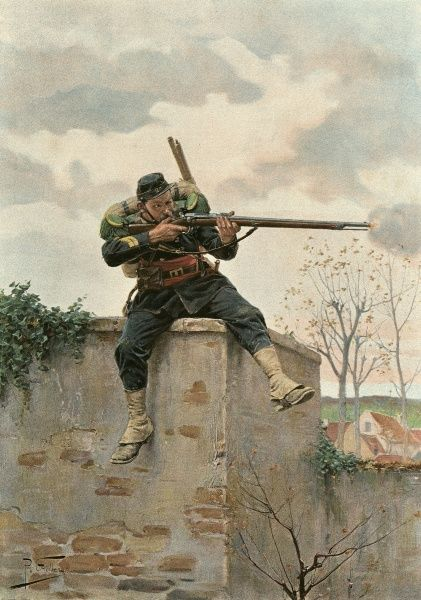 An infantryman gets a target in his sights during the Franco-Prussian war Date: 1870