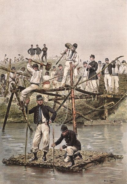 French civil engineering corps construct a temporary wooden bridge out of staves and brushwood on a training mission. Date: 1886