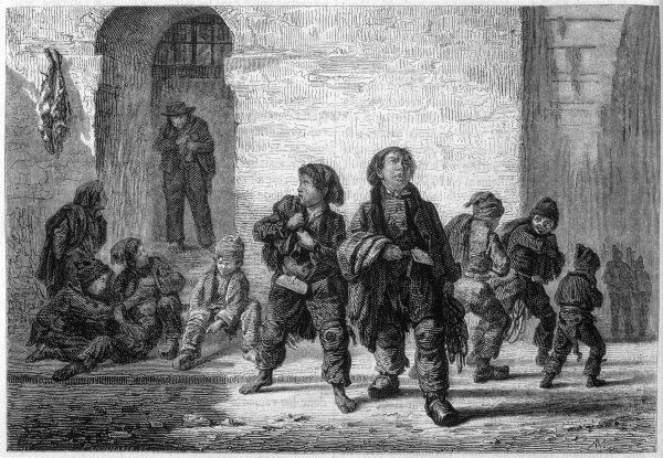 'LES RAMONEURS' French chimneysweeps leave for the day's work