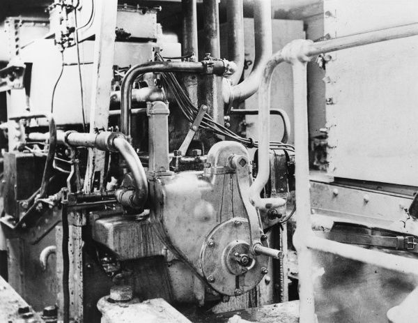 Engine of the Saint Chamond tank at Marly-le-Roi in Seine et Oise during World War I