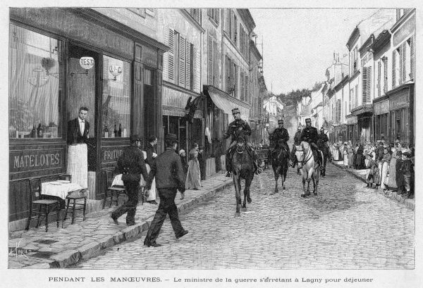 A characteristic French small- town street : soldiers on manoeuvres ride through Lagny