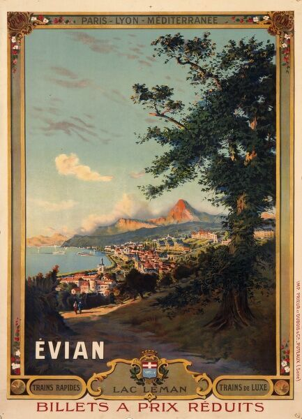 French railway poster advertising the resort of Evian-les-Bains on Lac Leman in the Haute-Savoie region of France and depicting a view of the town