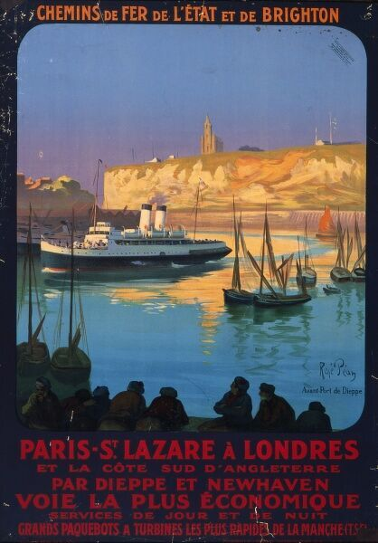 Travel poster for the French National Railways promoting routes between Paris and London by way of the French and British coasts. The picture shows the port of Dieppe with a Channel ferry among the smaller French fishing boats