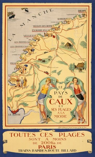 Poster advertising the Pays de Caux region along the North West French coast with two ladies in swimsuits presenting a map depicting all the resorts with beaches close to hand and just 200km from Paris
