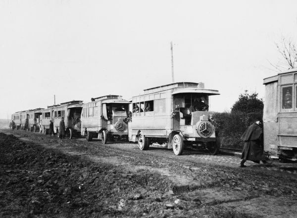 French buses carrying troops near Hazebrouck, France during World War I