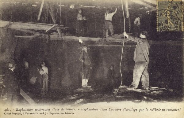 French Underground slate quarrying at Laval Date: circa 1910s