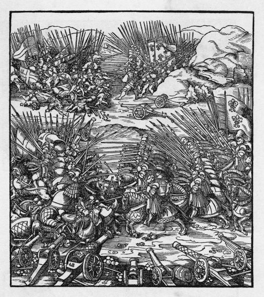 The French under Louis XII defeat the Venetians at Agnadella (Rivolta). The guns stand idle as the foot- soldiers and cavalry separately collide