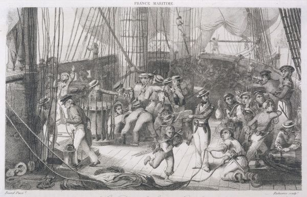 Scene on the deck of a French warship during a battle - every man has his place and his duties, even the barefoot 'mousse' running with a cannon ball