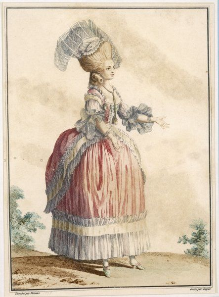 An aristocrat in a fashionably bulked-out skirt : her elaborate hair-do is topped with a strange head-dress with net like wings