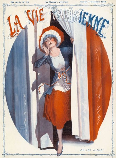 A patriotic young French woman dressed in the colours of the tricolour parts a curtin - of the same colours - and shouts at us