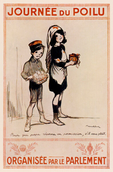 Child-appeal is exploited in this French World War One poster encouraging donations