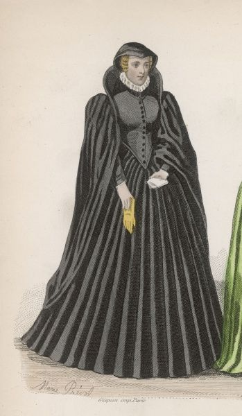 Woman of the reign of Henri II -her long black gown, cape and head=dress suggest that this is a mourning outfit