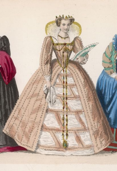 The upraised gauze wings of this lady's ruff, framing her head, are a fashion novelty which comes in during the reign of Henri III for elaborate party gowns